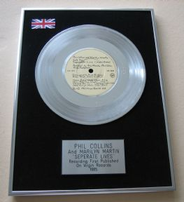 PHIL COLLINS AND MARILYN MARTIN - SEPERATE LIVES Platinum single presentation DISC